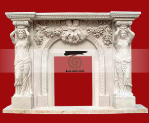 marble fireplace surround in USA style A-FP076